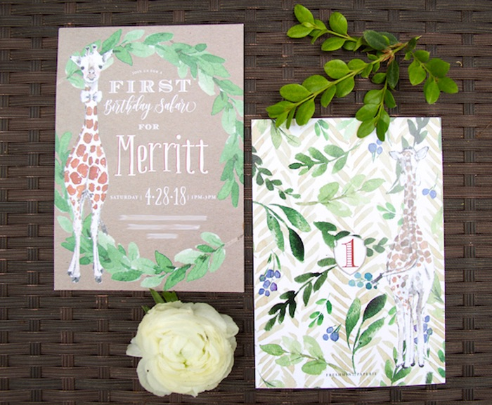 Safari Party Invite from a Minimal Safari Birthday Party on Kara's Party Ideas | KarasPartyIdeas.com (5)