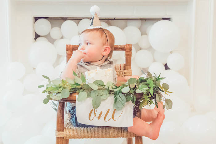Highchair Leaf Garland + Banner from a Minimal Safari Birthday Party on Kara's Party Ideas | KarasPartyIdeas.com (23)