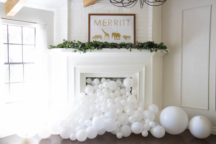 Balloon Fireplace from a Minimal Safari Birthday Party on Kara's Party Ideas | KarasPartyIdeas.com (20)
