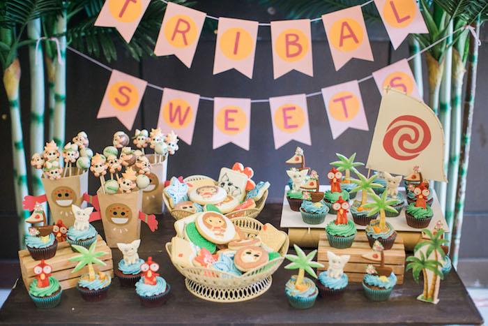 Moana Themed Dessert Table from a Moana Inspired Birthday Party on Kara's Party Ideas | KarasPartyIdeas.com (11)