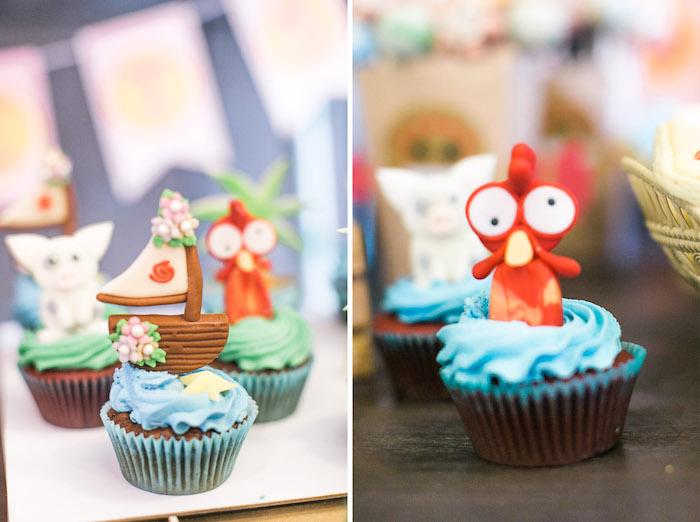 Moana Themed Cupcakes from a Moana Inspired Birthday Party on Kara's Party Ideas | KarasPartyIdeas.com (10)