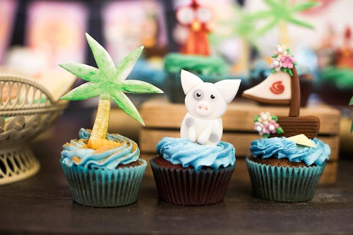 Moana Themed Cupcakes from a Moana Inspired Birthday Party on Kara's Party Ideas   KarasPartyIdeas.com (9)