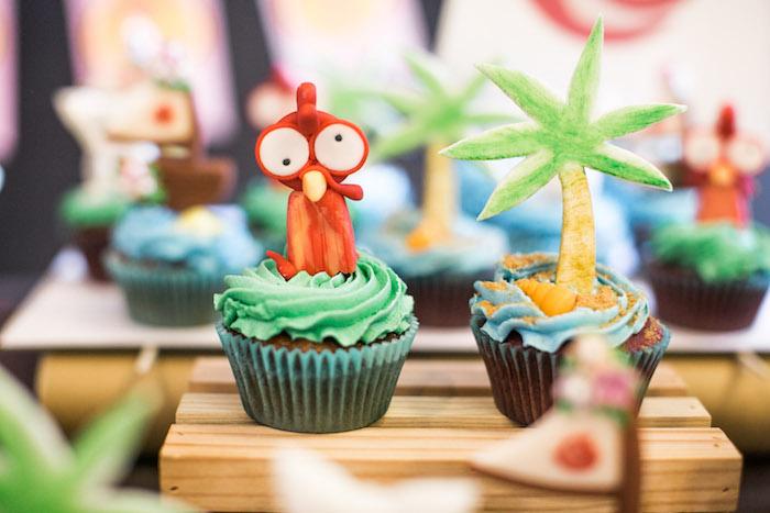 Moana Themed Cupcakes from a Moana Inspired Birthday Party on Kara's Party Ideas | KarasPartyIdeas.com (8)