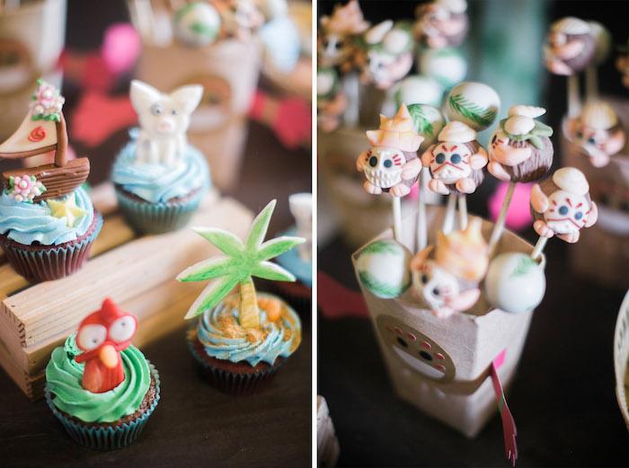 Cupcakes + Cake Pops from a Moana Inspired Birthday Party on Kara's Party Ideas   KarasPartyIdeas.com (17)