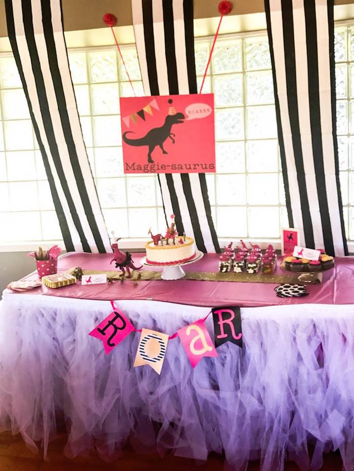 Girly Dinosaur Party Table from a Modern Glam Dinosaur Birthday Party on Kara's Party Ideas | KarasPartyIdeas.com (7)