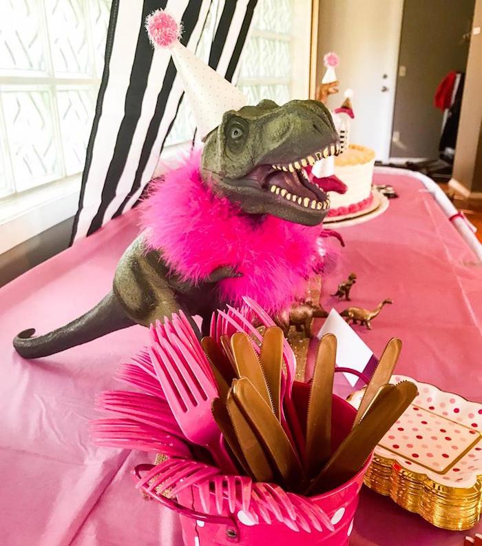 Glam T-Rex from a Modern Glam Dinosaur Birthday Party on Kara's Party Ideas | KarasPartyIdeas.com (6)