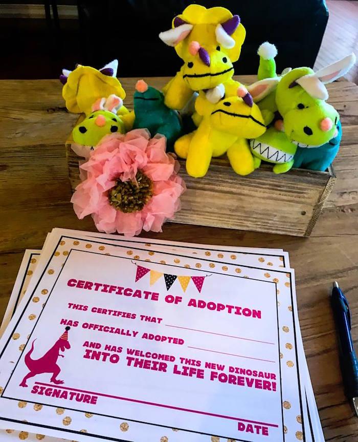 Plush Dino Adoption from a Modern Glam Dinosaur Birthday Party on Kara's Party Ideas | KarasPartyIdeas.com (18)