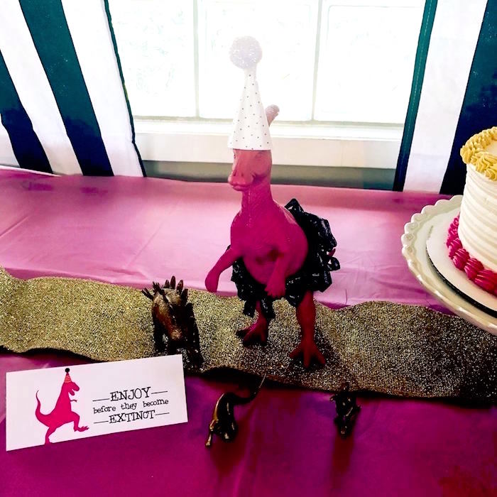 Pink Glam T-Rex from a Modern Glam Dinosaur Birthday Party on Kara's Party Ideas | KarasPartyIdeas.com (17)