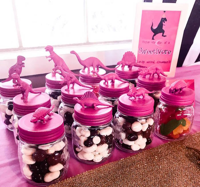 Pink Dinosaur Favor Jars from a Modern Glam Dinosaur Birthday Party on Kara's Party Ideas | KarasPartyIdeas.com (14)