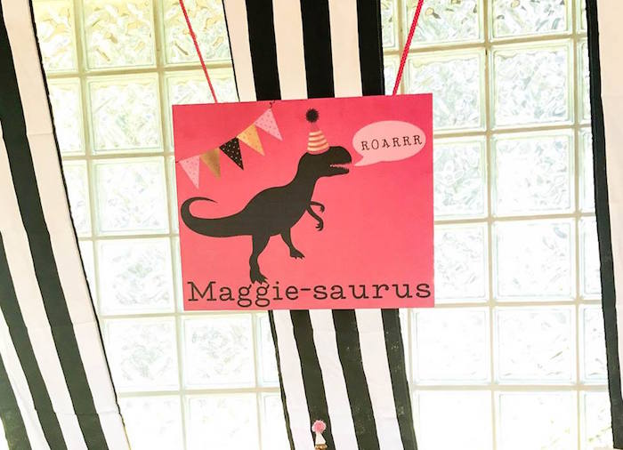 Girly Dino Party Signage from a Modern Glam Dinosaur Birthday Party on Kara's Party Ideas | KarasPartyIdeas.com (13)