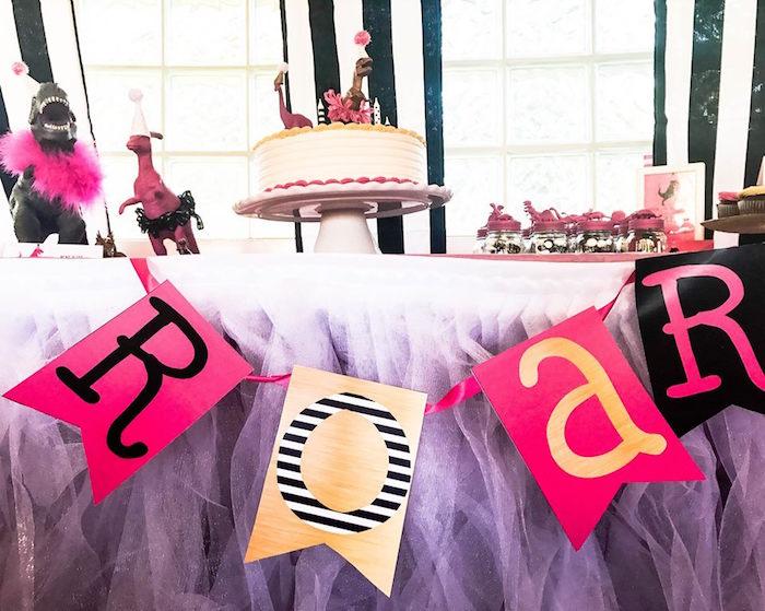 """ROAR"" Banner from a Modern Glam Dinosaur Birthday Party on Kara's Party Ideas | KarasPartyIdeas.com (11)"