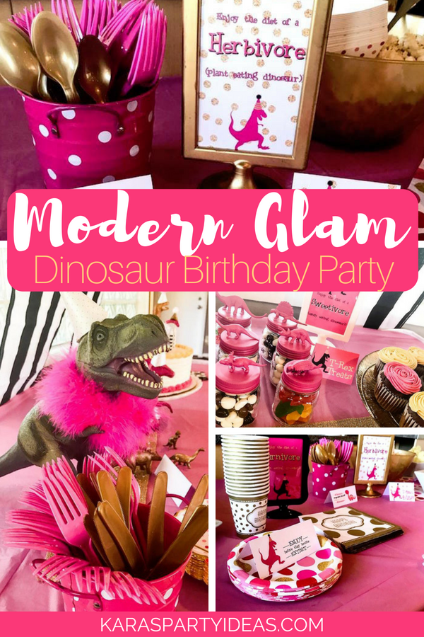 Modern Glam Dinosaur Birthday Party via KarasPartyIdeas - KarasPartyIdeas.com