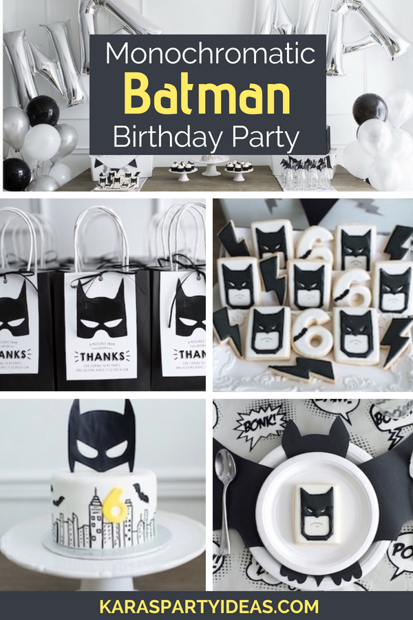 Monochromatic Batman Birthday Party via KarasPartyIdeas - KarasPartyIdeas.com