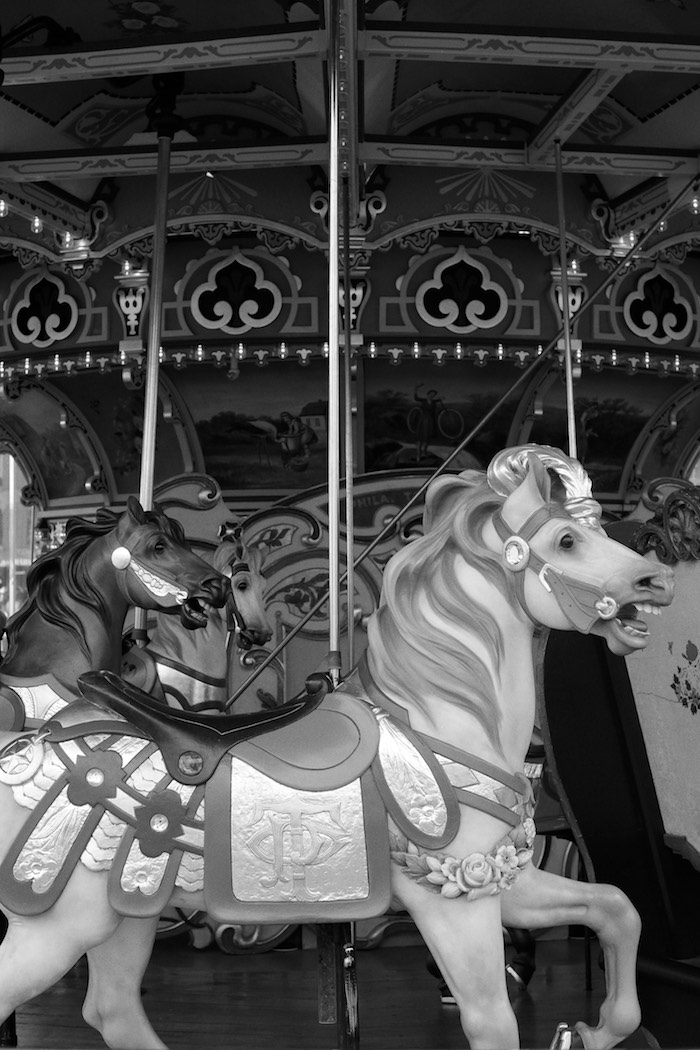 Carousel Horses from a Monochromatic Carousel Birthday Party on Kara's Party Ideas | KarasPartyIdeas.com (10)
