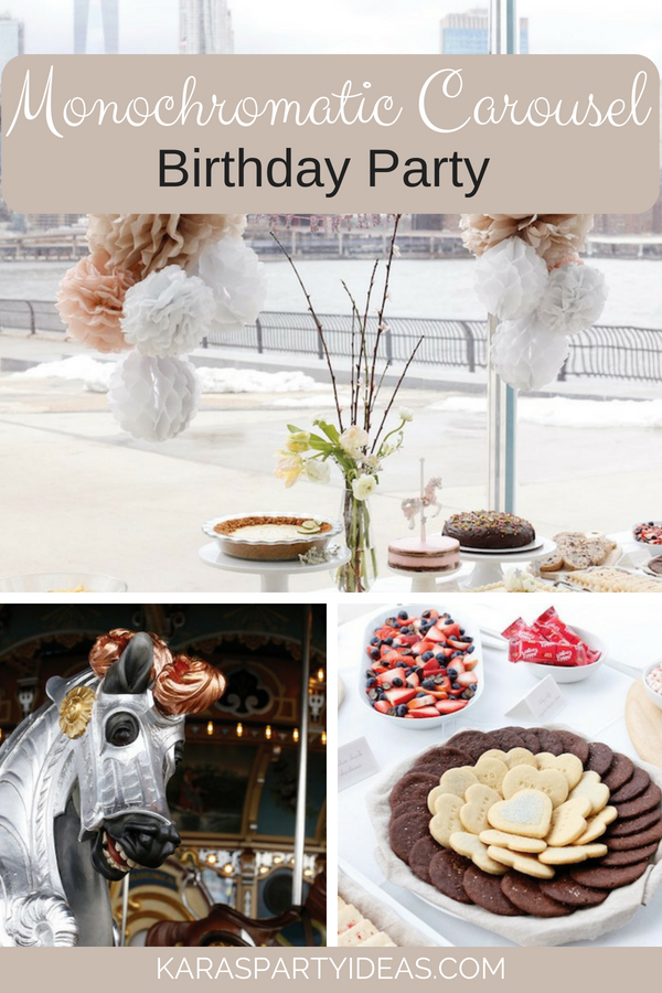 Monochromatic Carousel Birthday Party via KarasPartyIdeas - KarasPartyIdeas.com