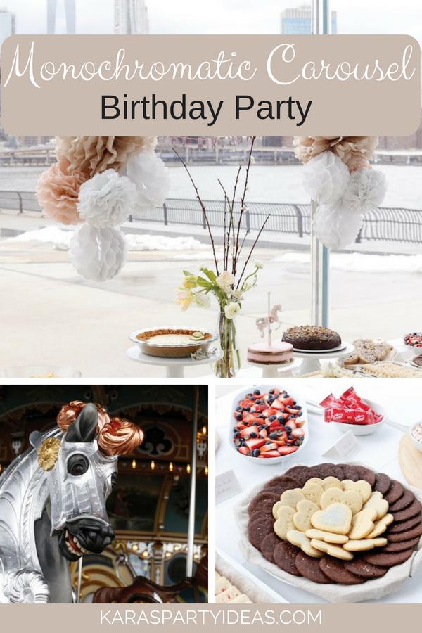 Monochromatic Carousel Birthday Party via KarasPartyIdeas - KarasPartyIdeas.com