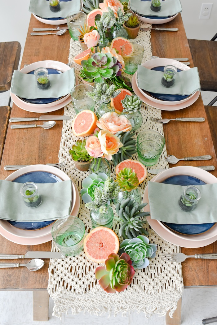Kara's Party Ideas Mother's Day Boho Citrus Tablescape ...