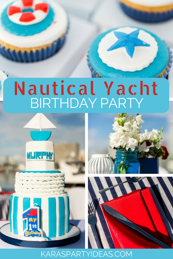 Nautical Yacht Birthday Party via KarasPartyIdeas - KarasPartyIdeas.com