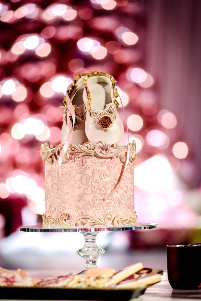 Ballet Slipper Cake from a Nutcracker Ballet Winter Wonderland Party on Kara's Party Ideas | KarasPartyIdeas.com (9)
