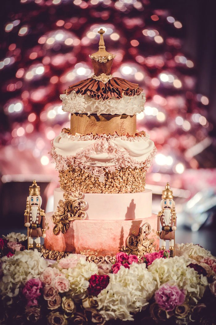 Nutcracker-inspired Cake from a Nutcracker Ballet Winter Wonderland Party on Kara's Party Ideas | KarasPartyIdeas.com (11)