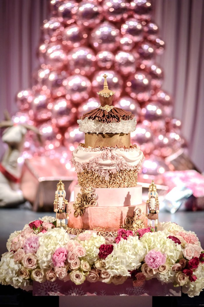 Nutcracker-inspired Cake from a Nutcracker Ballet Winter Wonderland Party on Kara's Party Ideas | KarasPartyIdeas.com (10)