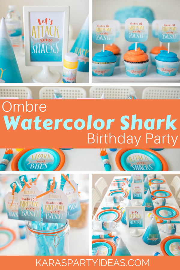 Ombre Watercolor Shark Birthday Party via KarasPartyIdeas - KarasPartyIdeas.com