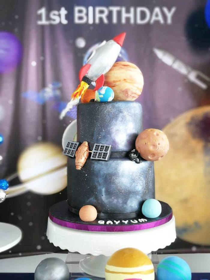 Outer Space Cake from an Outer Space Birthday Party on Kara's Party Ideas | KarasPartyIdeas.com (21)