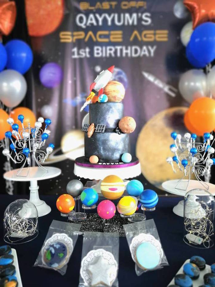 Space Themed Cake Table from an Outer Space Birthday Party on Kara's Party Ideas | KarasPartyIdeas.com (17)