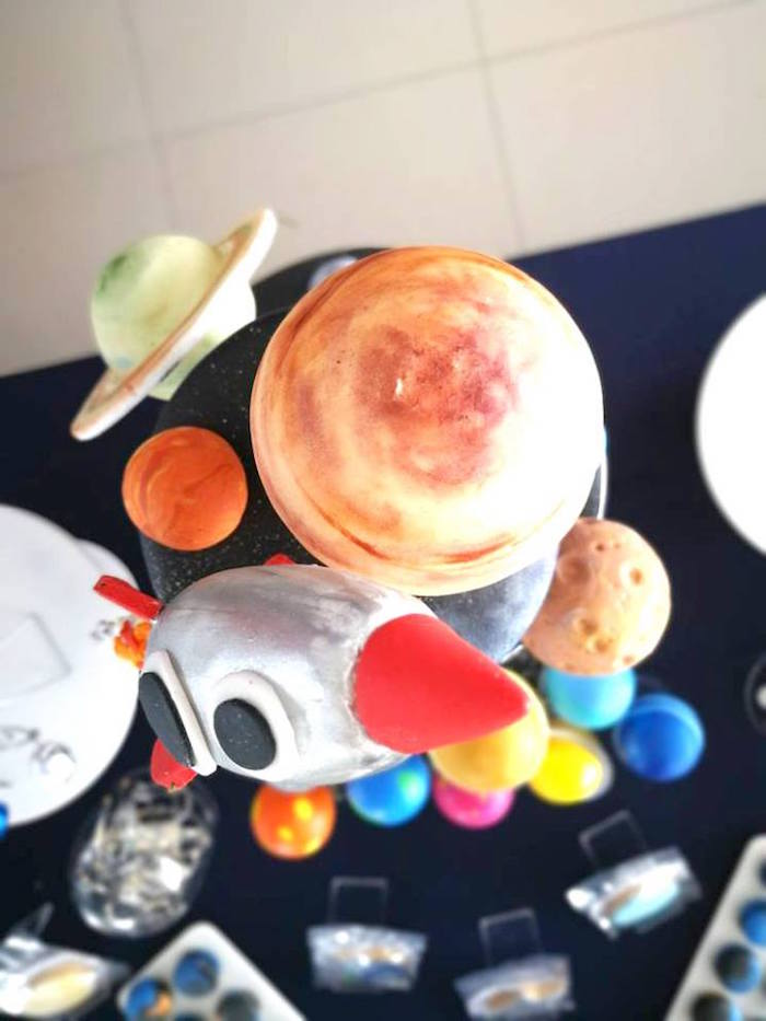 Space-inspired Cake Top from an Outer Space Birthday Party on Kara's Party Ideas | KarasPartyIdeas.com (15)