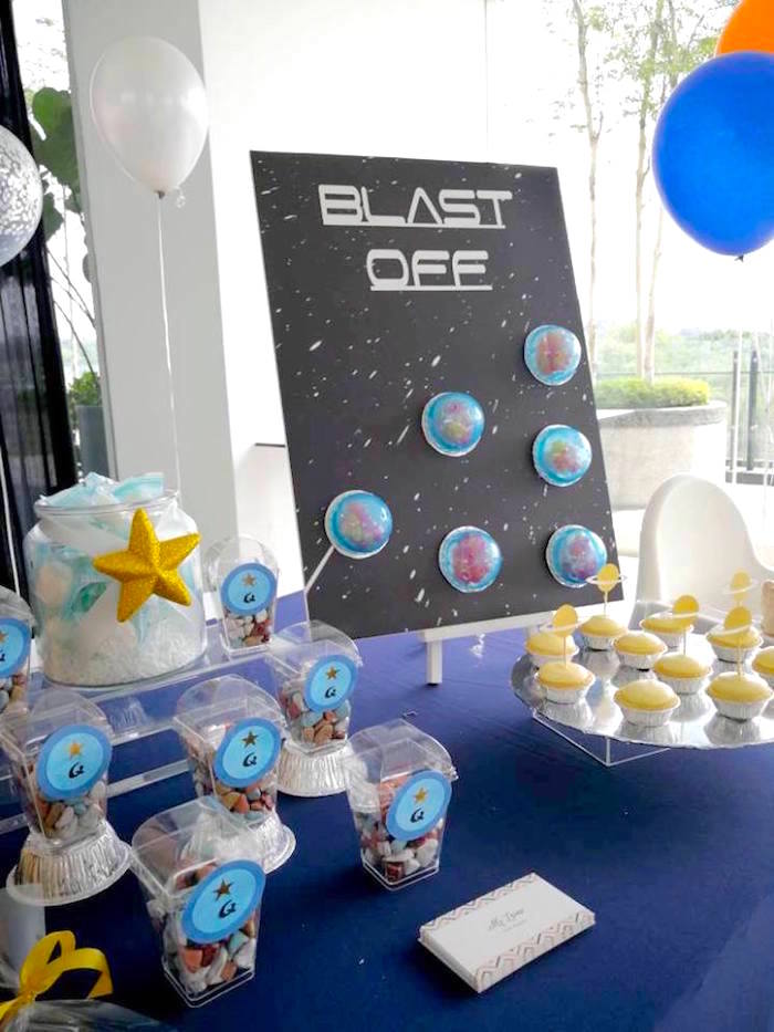 Blast Off Party Table from an Outer Space Birthday Party on Kara's Party Ideas | KarasPartyIdeas.com (13)
