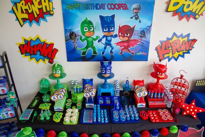 PJ Masks Party Table from a PJ Masks Birthday Party on Kara's Party Ideas | KarasPartyIdeas,com (14)