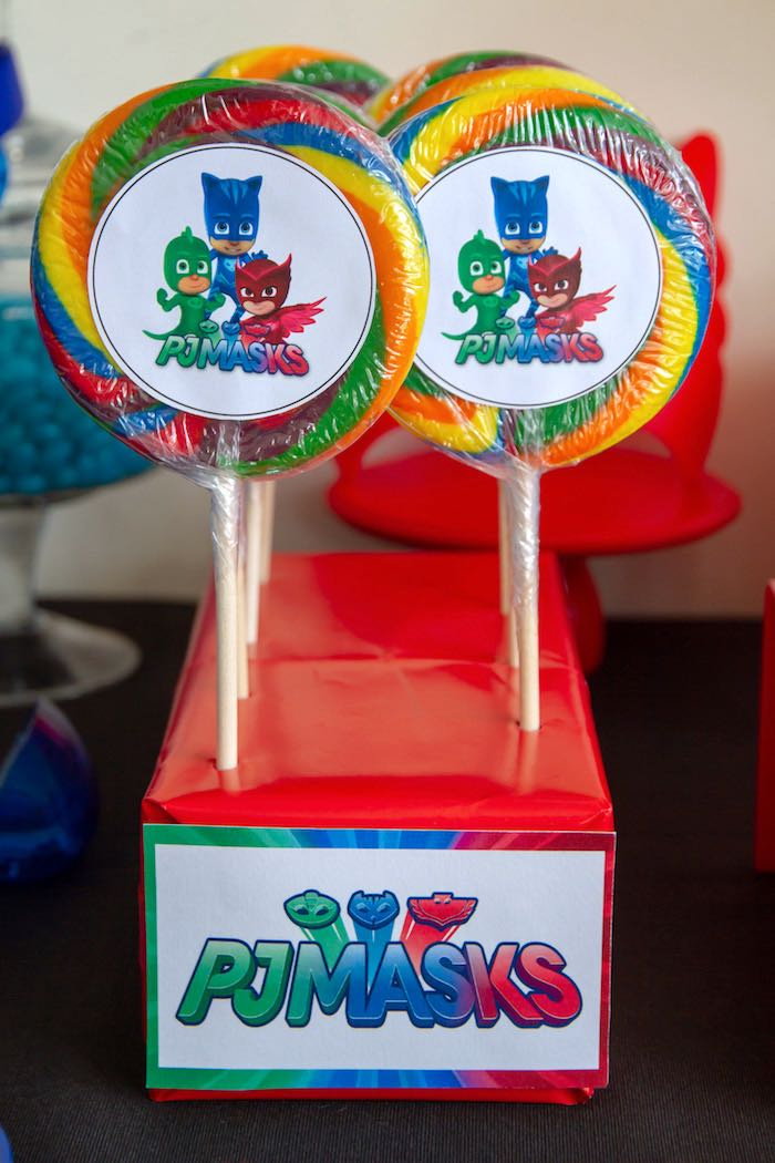 PJ Mask Lollipops from a PJ Masks Birthday Party on Kara's Party Ideas | KarasPartyIdeas,com (13)