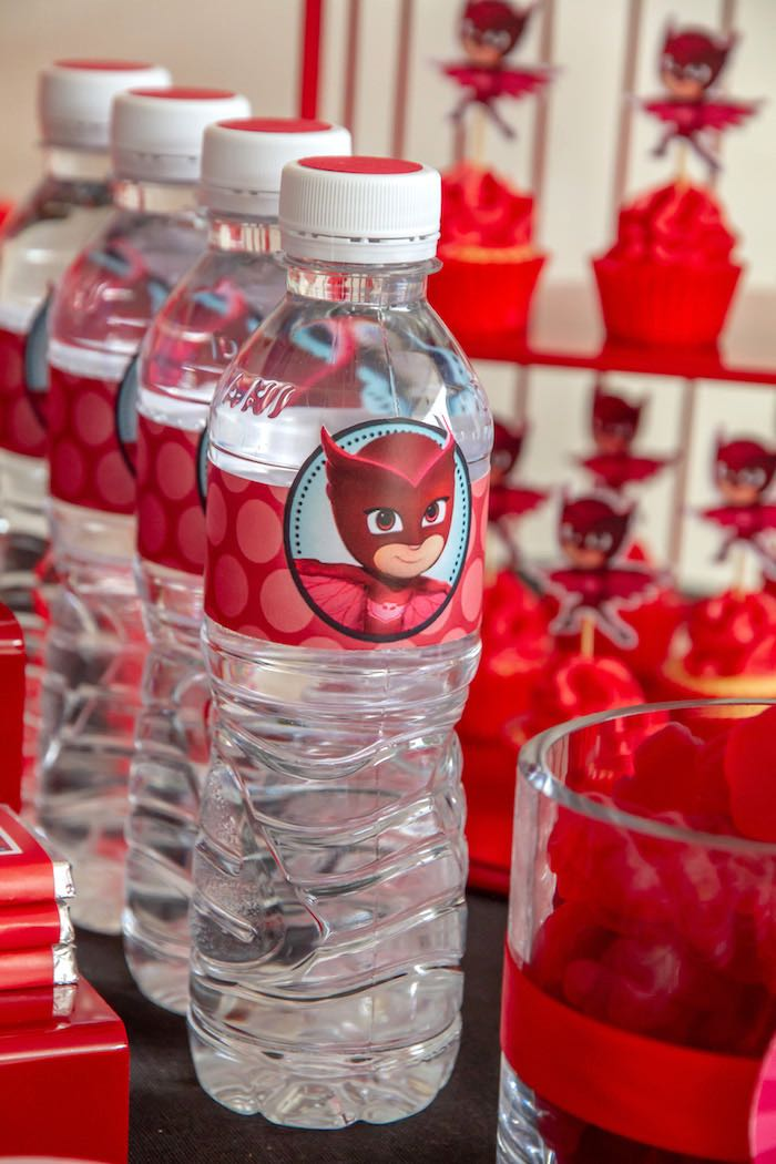 Owlette Water Bottles from a PJ Masks Birthday Party on Kara's Party Ideas | KarasPartyIdeas,com (12)