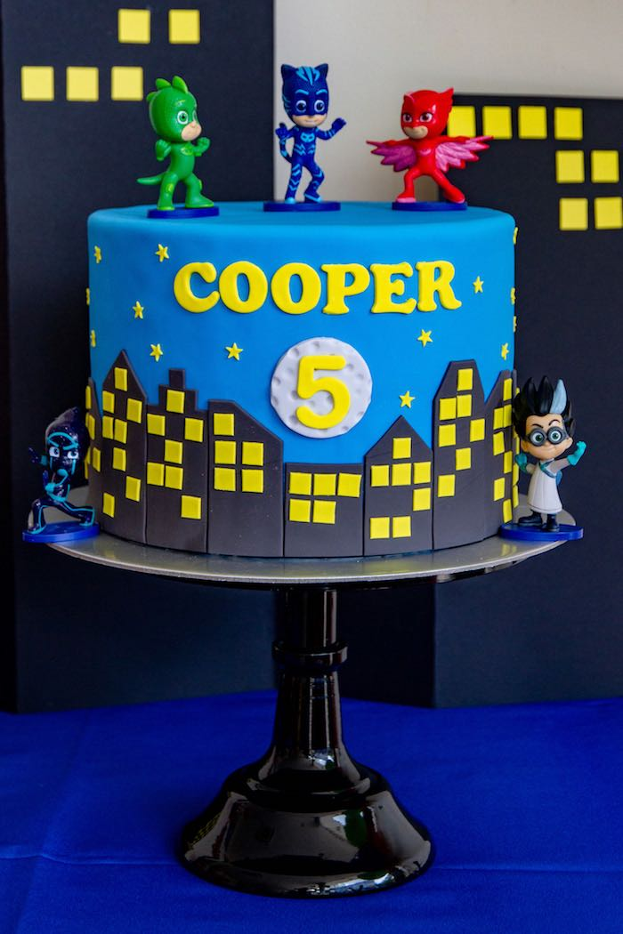 Superhero Cityscape Cake From A PJ Masks Birthday Party On Karas Ideas