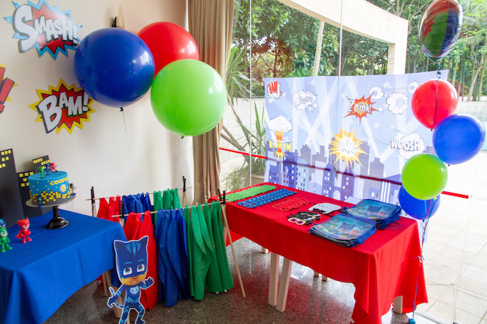 Pj Masks Party Tables from a PJ Masks Birthday Party on Kara's Party Ideas | KarasPartyIdeas,com (8)