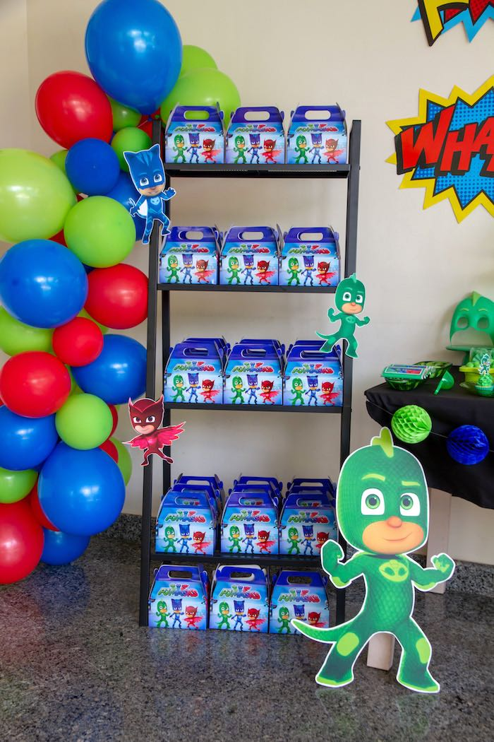 PJ Maks Gable Boxes from a PJ Masks Birthday Party on Kara's Party Ideas | KarasPartyIdeas,com (22)