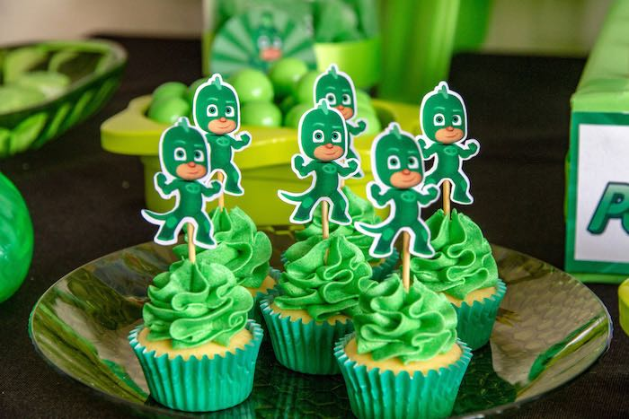 Gekko Cupcakes from a PJ Masks Birthday Party on Kara's Party Ideas | KarasPartyIdeas,com (21)