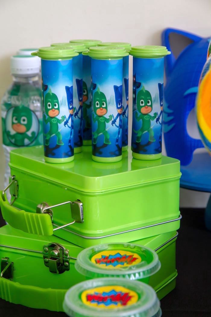 Gekko Favor Tubes from a PJ Masks Birthday Party on Kara's Party Ideas | KarasPartyIdeas,com (19)