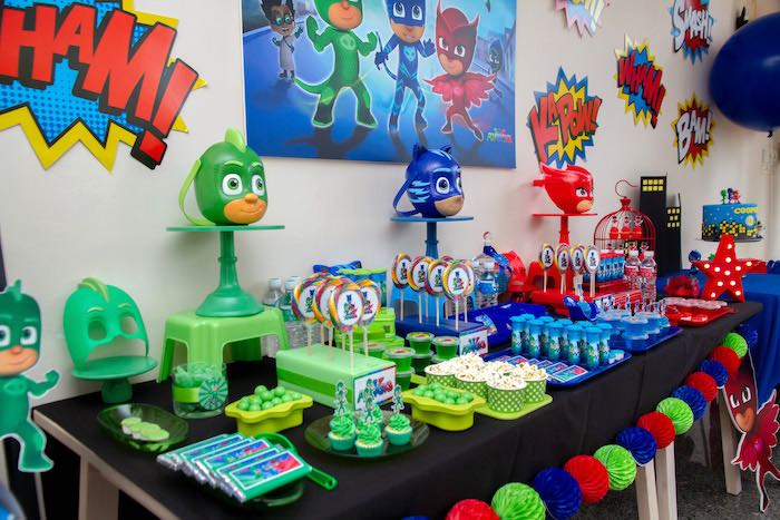 PJ Masks Themed Party Table from a PJ Masks Birthday Party on Kara's Party Ideas | KarasPartyIdeas,com (17)