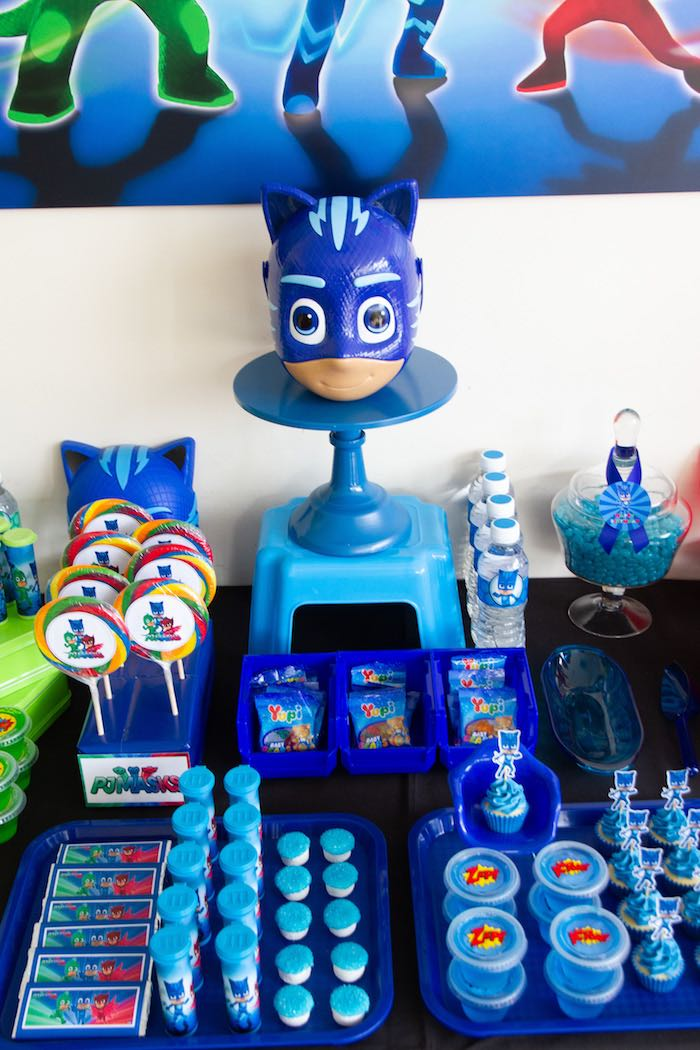 Catboy-inspired Party Table Section from a PJ Masks Birthday Party on Kara's Party Ideas | KarasPartyIdeas,com (16)