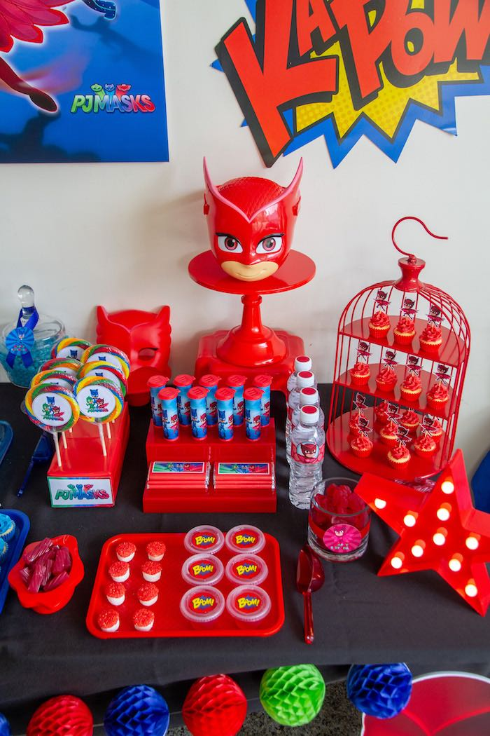 Owlette-inpsired Sweet Table Section from a PJ Masks Birthday Party on Kara's Party Ideas | KarasPartyIdeas,com (15)
