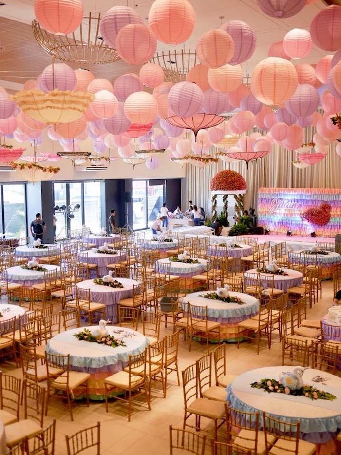 Guest Tables + Partyscape from a Pastel Swan Birthday Party on Kara's Party Ideas | KarasPartyIdeas.com (9)