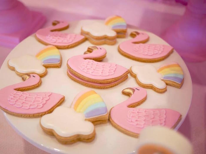 Swan + Rainbow Cookies from a Pastel Swan Birthday Party on Kara's Party Ideas | KarasPartyIdeas.com (6)
