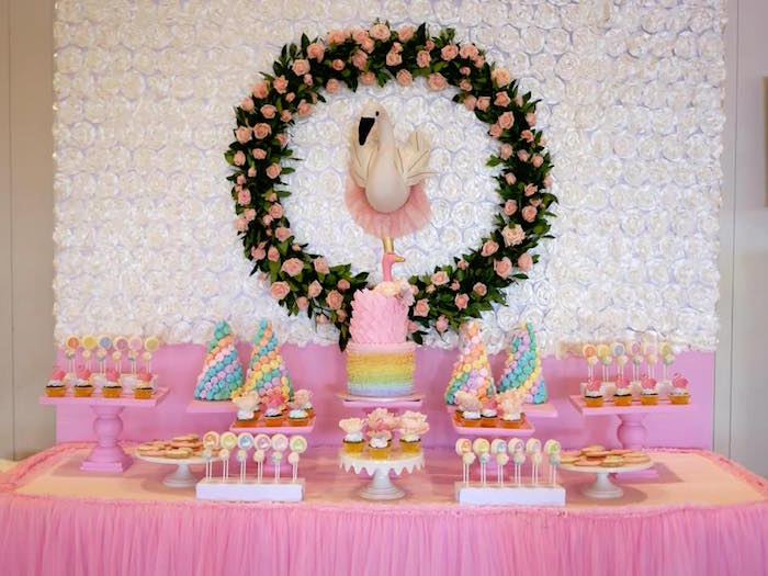 Swan Sweet Table from a Pastel Swan Birthday Party on Kara's Party Ideas | KarasPartyIdeas.com (5)