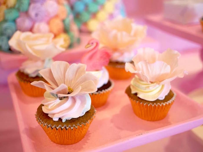 Flower Cupcakes from a Pastel Swan Birthday Party on Kara's Party Ideas | KarasPartyIdeas.com (4)