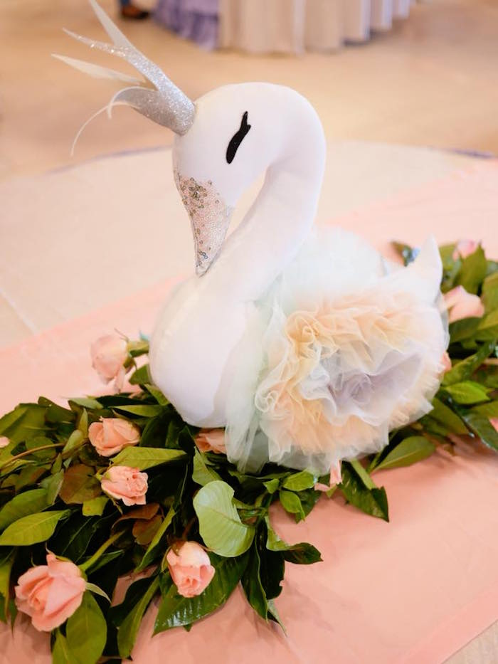 Swan Table Centerpiece + Floral Runner from a Pastel Swan Birthday Party on Kara's Party Ideas | KarasPartyIdeas.com (18)