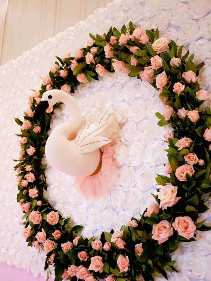 Floral Swan Wreath from a Pastel Swan Birthday Party on Kara's Party Ideas | KarasPartyIdeas.com (17)