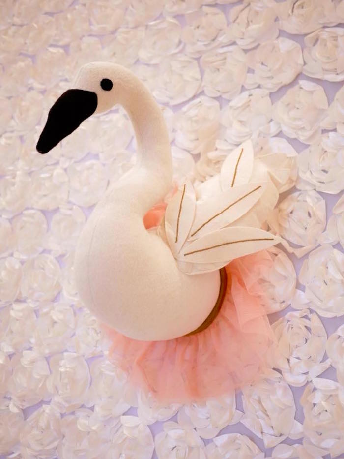 Swan Wall Hanging from a Pastel Swan Birthday Party on Kara's Party Ideas | KarasPartyIdeas.com (16)