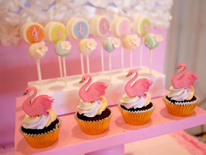 Swan Cupcakes from a Pastel Swan Birthday Party on Kara's Party Ideas | KarasPartyIdeas.com (15)