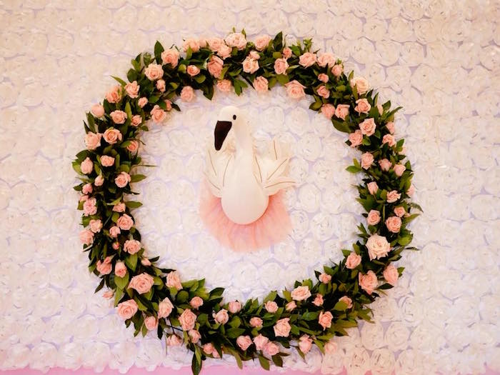 Floral Wreath Swan Backdrop from a Pastel Swan Birthday Party on Kara's Party Ideas | KarasPartyIdeas.com (14)